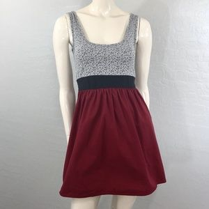 Kimchi Blue Maroon Floral A-line Dress with Tie